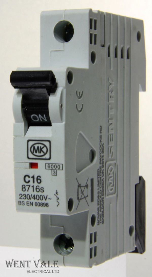 MK Sentry - 8716s - 16a Type C Single Pole MCB New